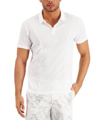 alfani men's regular-fit pieced ribbed-knit polo shirt, created for macy's