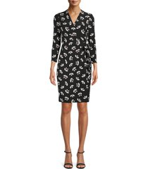 anne klein muir woods faux wrap dress, size x-small in anne black/devonshire combo at nordstrom