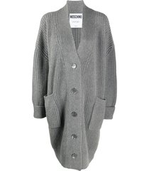 moschino ribbed mid-length cardigan - grey