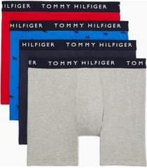 tommy hilfiger men's cotton stretch boxer brief 4pk gray heather/navy/dog print on nautical blue/tango red - xxl