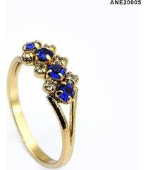 anel horus import azul topázio banhado ouro