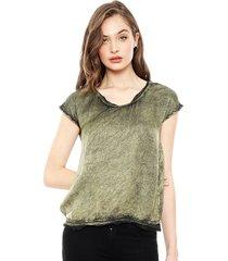 blusa ellus v neco retro color verde - calce holgado
