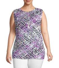premise studio women's plus geometric-print sleeveless top - size 0x (10-12)