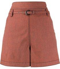 marni belted flared shorts - orange