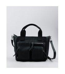 bolsa feminina grande com bolsos e alça transversal removível preta