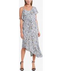 vince camuto women's one shoulder ruffle asymmetrical hem dress