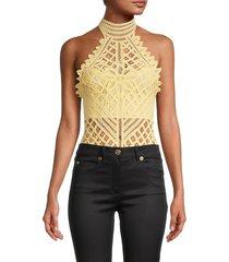 free people women's be my battenburg lace bodysuit - yellow - size s