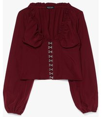 hook & eye detail blouse - red