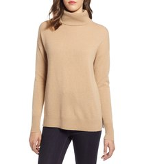 women's halogen cashmere turtleneck sweater, size x-large - brown