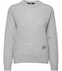 cashmere crew neck stickad tröja grå karl lagerfeld