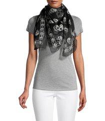 alexander mcqueen women's skull-print scarf - black