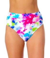 california waves tie-dyed high-waist bikini bottoms, created for macy's women's swimsuit