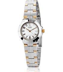 reloj casio ltp-1242sg plateado con dorado para mujer