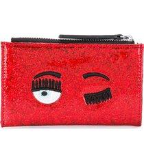 chiara ferragni wink sequin wallet - red