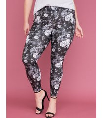 lane bryant women's floral printed faux leather legging 26/28p black