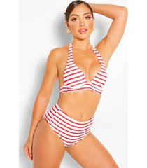 mix & match nautical high waisted bikini brief, red