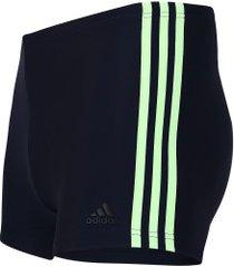 sunga boxer adidas fit 3 stripes swim - adulto - azul esc/amarelo