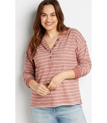 maurices plus size womens striped button front hoodie brown