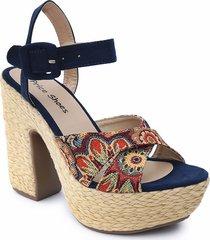 sandalias para mujer tacon alto yute 882panchaazul