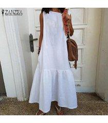 zanzea de s-5xl mujeres camiseta sin mangas del vestido del verano del tanque del vestido largo maxi del vestido vestido de tirantes -blanco