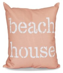 beach house 16 inch coral decorative word print throw pillow
