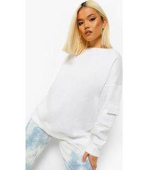 petite cargo oversized sweater, white