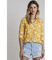 camisa feminina estampada floral com bolso manga longa mostarda