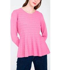 sweater io peplum fucsia - calce ajustado