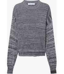proenza schouler white label marl silk sweater cut out top off-white/black l