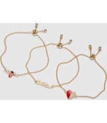 lane bryant women's 3-row bee mine adjustable bracelet set onesz racing red