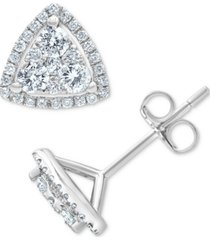 diamond triangle cluster stud earrings (3/4 ct. t.w.) in 14k white gold