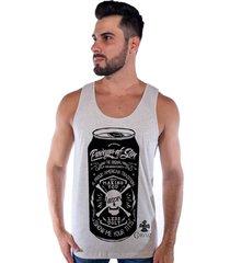 regata corvuz strong beer creme mescla - bege - masculino - algodã£o - dafiti