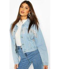 rhinestone diamente tassle cropped jean jacket, mid blue