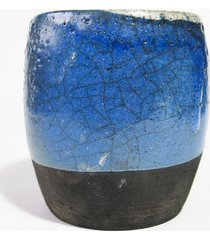 ceramiczny niebieski pojemnik raku