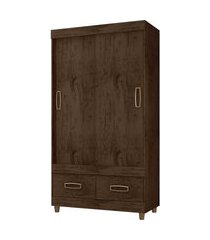 guarda roupa 2 portas e 2 gavetas imbuia/baunilha araplac móveis marrom