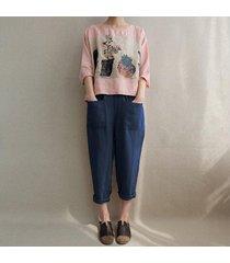 zanzea mujeres de la alta cintura larga suelta polainas harem pantalones casual -azul