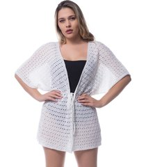 saída de praia tricô rendado kimono crochê branco 0265 - tricae