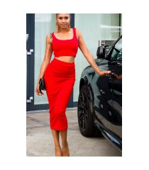 sexy set crop-top en midi rok rood