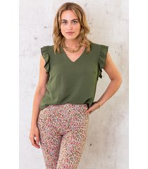 v-hals ruffle blouse army