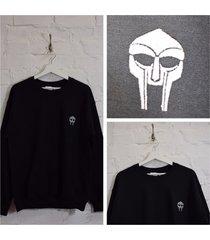 actual fact doom embroidered badge mf doom black crew neck sweatshirt top