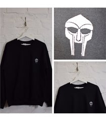 actual fact doom embroidered badge mf doom black crew neck sweatshirt top