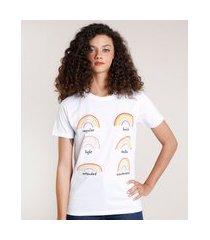 t-shirt feminina mindset arco-íris manga curta decote redondo branca