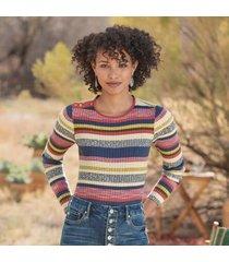 sundance catalog women's bright nites sweater - petites in melnstripe petite xs