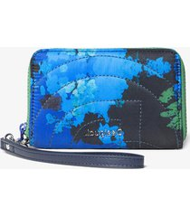 padded coin wallet with floral camouflage - blue - u