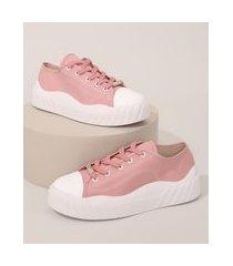 tênis de lona feminino flatform moleca rosa