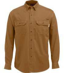 wolverine men's fletcher long sleeve twill shirt chestnut, size l