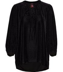 robin velvet blouse lange mouwen zwart line of oslo