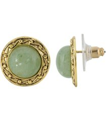 2028 gold-tone round semi precious aventurine button earrings