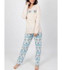 pyjama's / nachthemden admas homewear pyjama top broek velours winter on the mountain