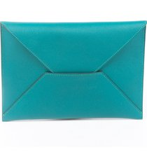 hermes chevre mysore envelope trio wallet green/multicolor sz: